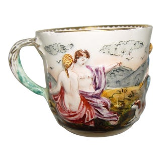 19th Century Antique Ginori Capodimonte Type Nudes in Relief Cup Teacup For Sale