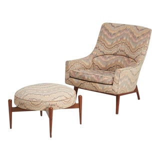 Jens Risom Lounge Chair and Matching Ottoman For Sale