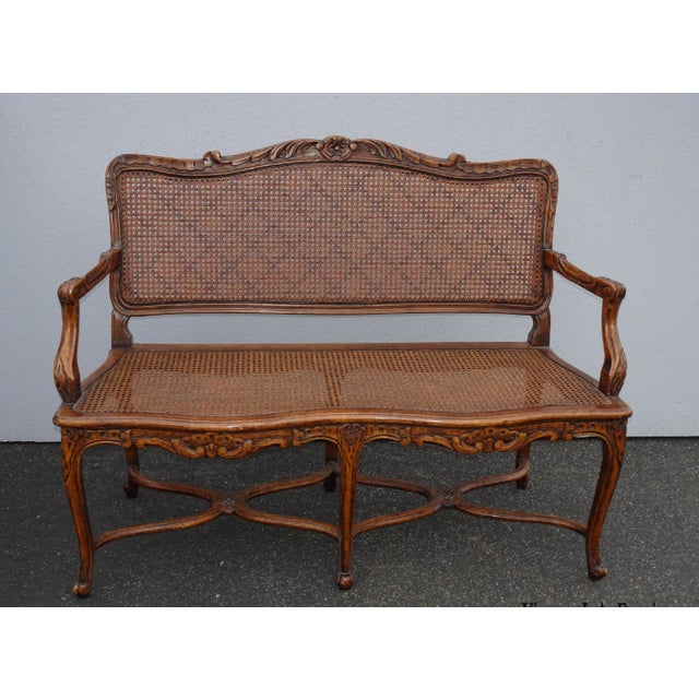 Vintage Martin of London French Country Brown Ornately Carved Cane Settee For Sale - Image 13 of 13