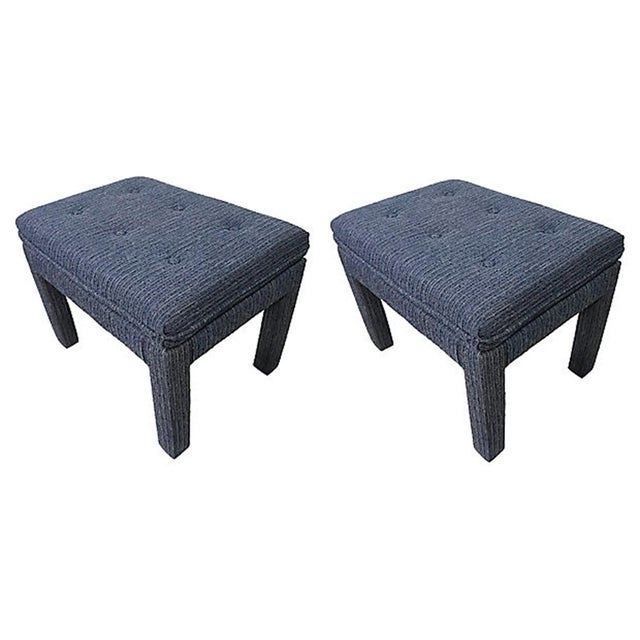 Mid-Century Modern Mid 20th Century Blue Tweed Ottomans - a Pair For Sale - Image 3 of 7