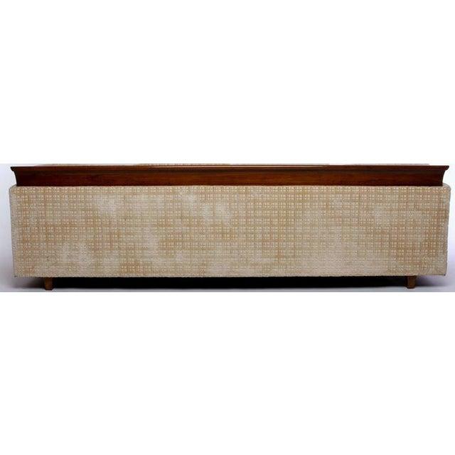 Mid-Century Modern Baker Furniture Walnut & Down-Filled Velvet Sofa. For Sale - Image 3 of 6