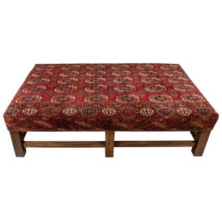 Large Scale Ottoman Upholstered With a Vintage Rug Textile For Sale