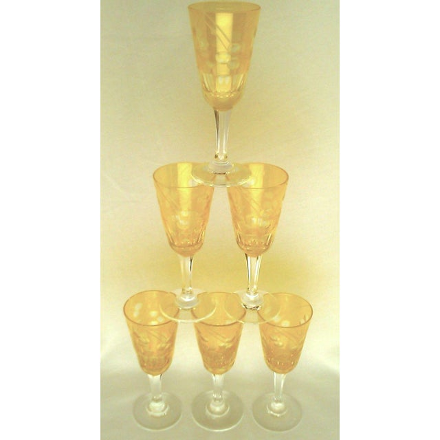 Crystal Victorian Amber Cut to Clear Sherry Stemware - Set of 6 For Sale - Image 7 of 7