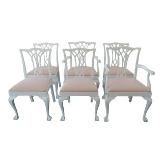 1930s Boho Chic Dining Chairs With Soft Pink Kravet Upholstery - Set of 6 For Sale