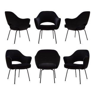 Original Vintage Saarinen Executive Arm Chairs, Custom Restored Black Edition in Velvet - Set of 6 For Sale