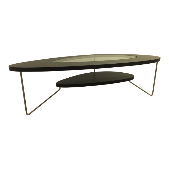 Modern Oval Wood & Glass Coffee Table - Image 1 of 7