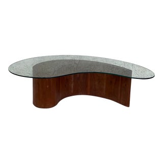 Vladimir Kagan Attributed Apostrophe Biomorphic Curved Walnut & Glass Coffee Table For Sale