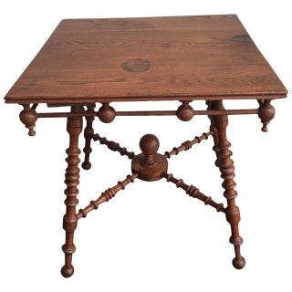 Early 20th Century Arts and Crafts Oak Stick and Ball Square Table For Sale