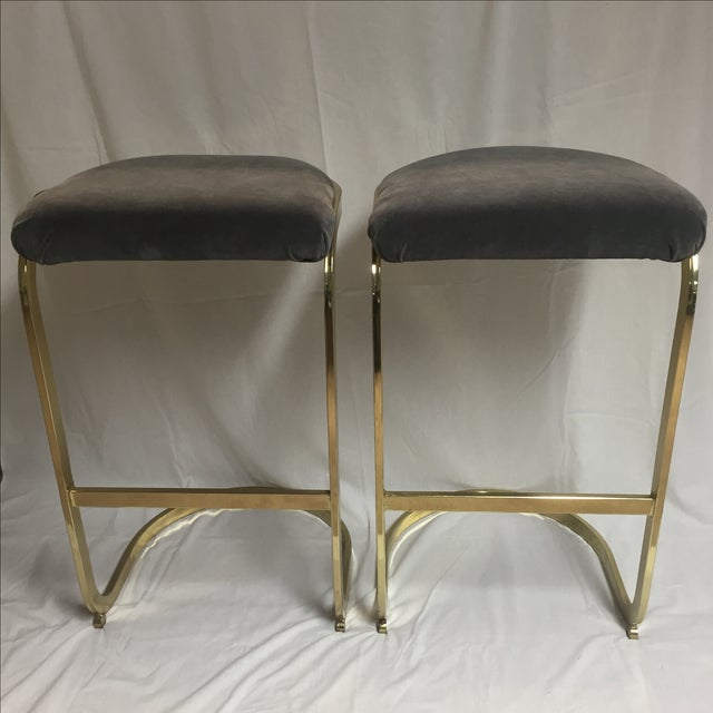 Vintage Brass & Gray Velvet Bar Stools - a Pair For Sale In Cincinnati - Image 6 of 8