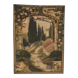 Large Tuscan Style Garden Scene Tapestry & Rod For Sale
