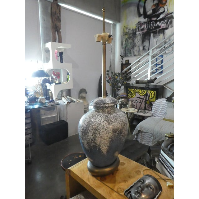 1960s 1960s Huge Bulbous Mid-Century Modern Volcanic Glaze Table Lamp For Sale - Image 5 of 8