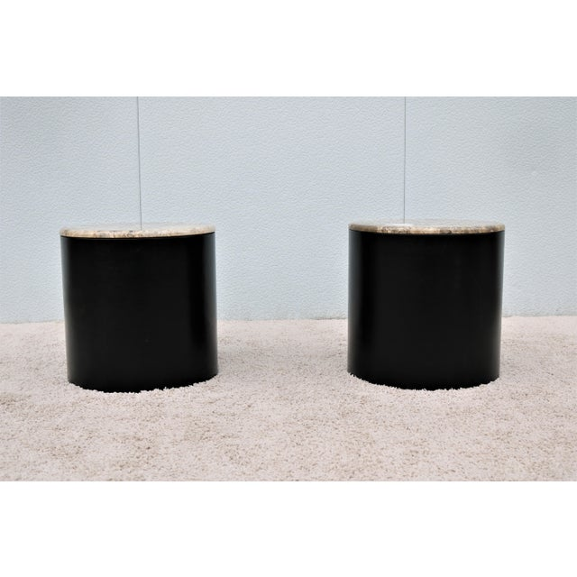 Mid-Century Modern Mid Century Modern Paul Mayen Style Brown Marble Top Drum Side Tables - a Pair For Sale - Image 3 of 13
