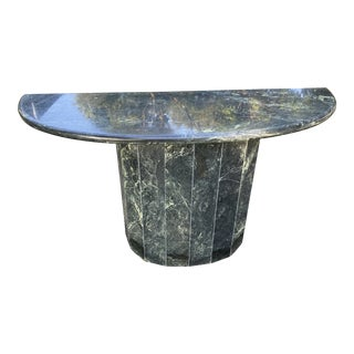 1960s Italian Green Marble Console Table For Sale