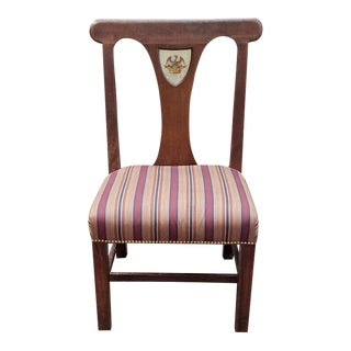 Antique American Oak & Upholstered Library Chair C.1910 For Sale