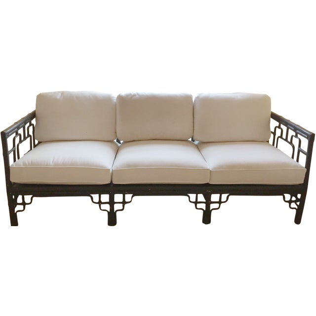McGuire Sofa with Chinoiserie Style Bamboo Frame - Image 1 of 7