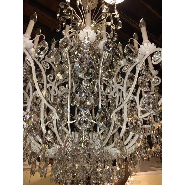 Monumental German Schonbek Painted Brass and Crystal Chandelier For Sale In New York - Image 6 of 11