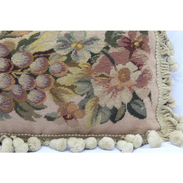 Textile 19th Century Needle Point Down Lumbar Pillow For Sale - Image 7 of 9