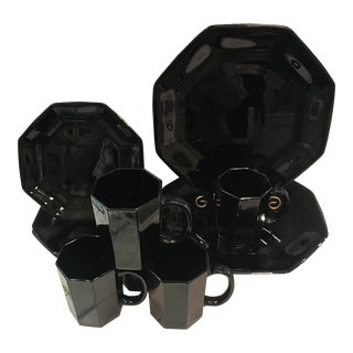 1950s Mid-Century Modern Arcoroc Octime Black Glass Plate and Mug Set of 12 For Sale