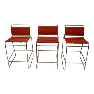 Tubular Chrome & Coral Fabric Counter Height Stools - Set of 3 For Sale