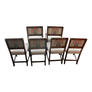 Reupholstered Antique English Dining Chairs - Set of 6