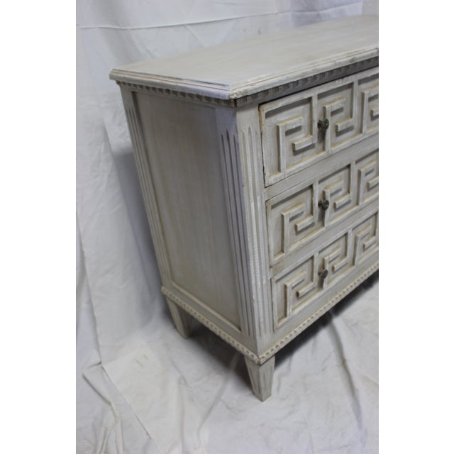 Directly imported from Europe, hand crafted from solid Oak wood and hand carved Greek Key front design. Vintage Swedish...