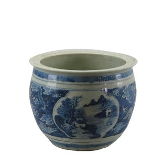 Small Blue and White Mountain Scene Planter
