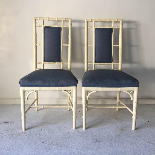 "Vintage Cottage Faux-Bamboo Side Chairs (2) High-Back (white), Seat Height, 20""; Need Reupholstering, Distressed. We..."
