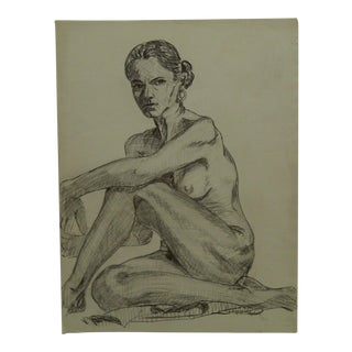 "1957 Mid-Century Modern Original Drawing on Paper, ""Serious Look Nude Wearing Earrings"" by Tom Sturges Jr. For Sale"