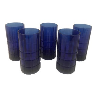 1960s Contemporary Anchor Hocking Tartan Cobalt Blue 12 Oz Tumblers - Set of 5 For Sale