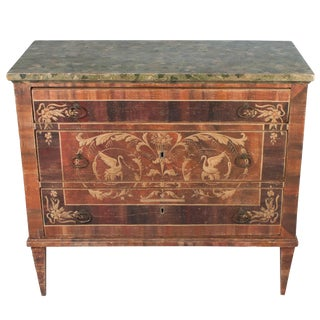 Painted Italian Commode With Faux Marble Top For Sale