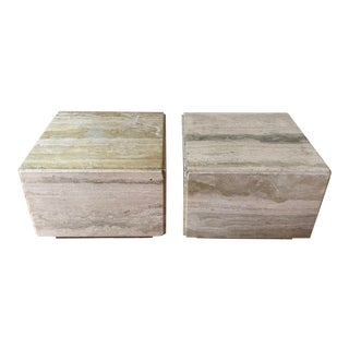 Italian Travertine Block Tables on Plinth Bases, 1970s