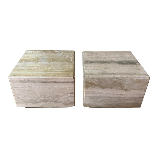 Italian Travertine Block Tables on Plinth Bases, 1970s For Sale