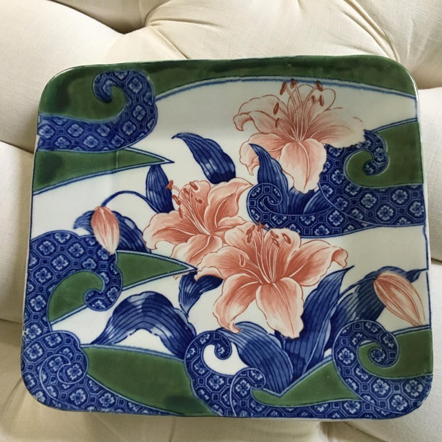 20th Century Japanese Toyo Serving Platter in Orchid Motif For Sale - Image 9 of 9