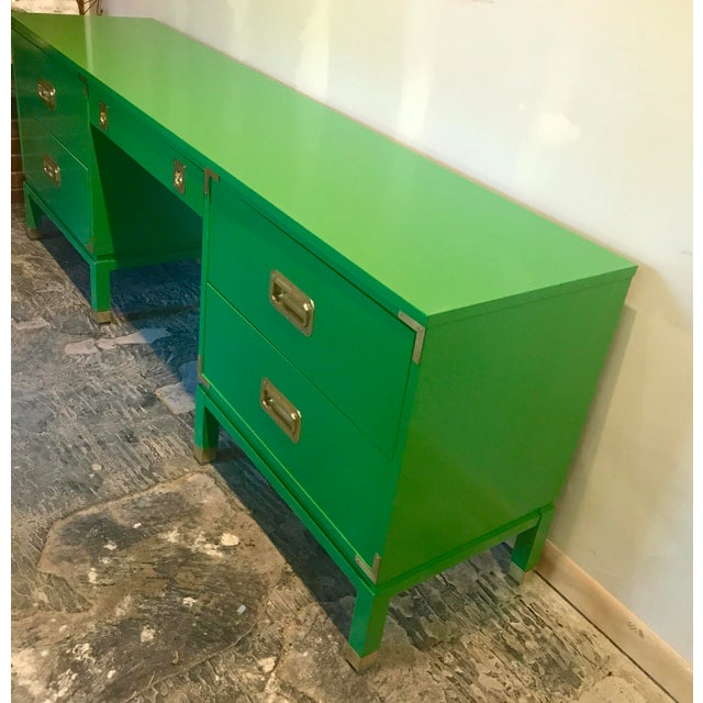 Campaign Green Lacquered Campaign Desk For Sale - Image 3 of 9