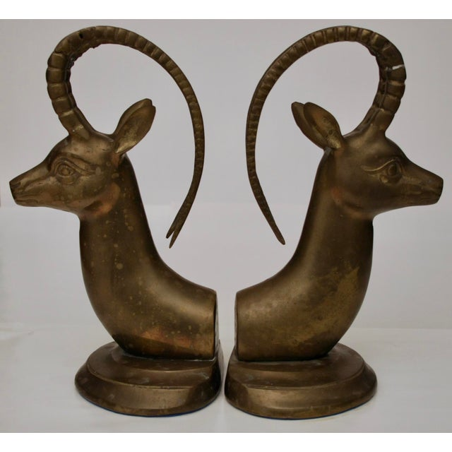 Large Brass Gazelle Sculptural Bookends - Image 2 of 8