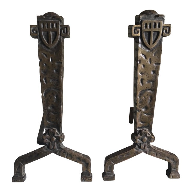 1930's Vintage Gothic Fireplace Andirons - a Pair - Image 1 of 5