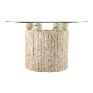 Post Modern Demilune Mactan Stone Console Table For Sale