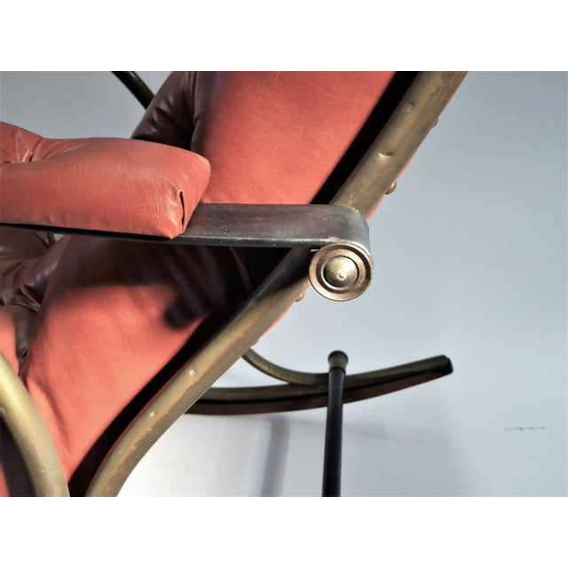 Brass Modern Woodard Sculptural Tufted Leatherette Rocking Chair 1970s For Sale - Image 7 of 11