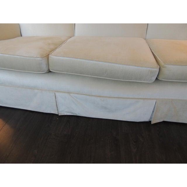 Fabric Vintage Long Three Cushion Velvet Upholstered Sofa For Sale - Image 7 of 11