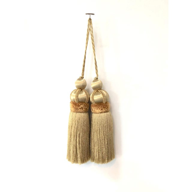 Gold Key Tassels With Cut Velvet Ruche- a Pair For Sale - Image 11 of 11
