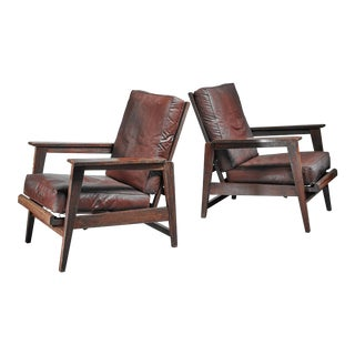 Pair of Reclining Armchairs with Dark Brown Vinyl Seats For Sale