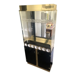 1970s Art Deco Gold and Black Lacquer Bar Cabinet For Sale