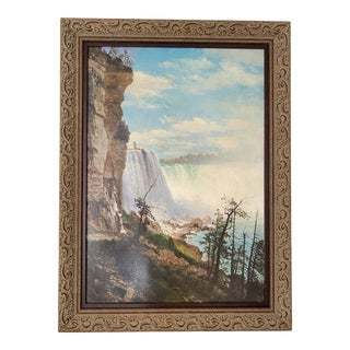 """Albert Bierstadt """"View of the Niagara Falls From the American Side"""" Fine Art Canvas Giclee Print Framed For Sale"""