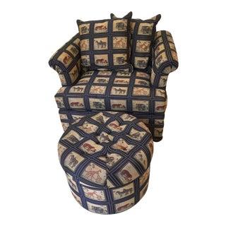 Safari Print Chair & Ottoman