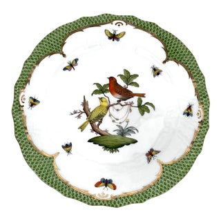 """Herend Rothschild Bird 10.5"""" Dinner Plate Gilt and Green Fish Scale Border 3 For Sale"""