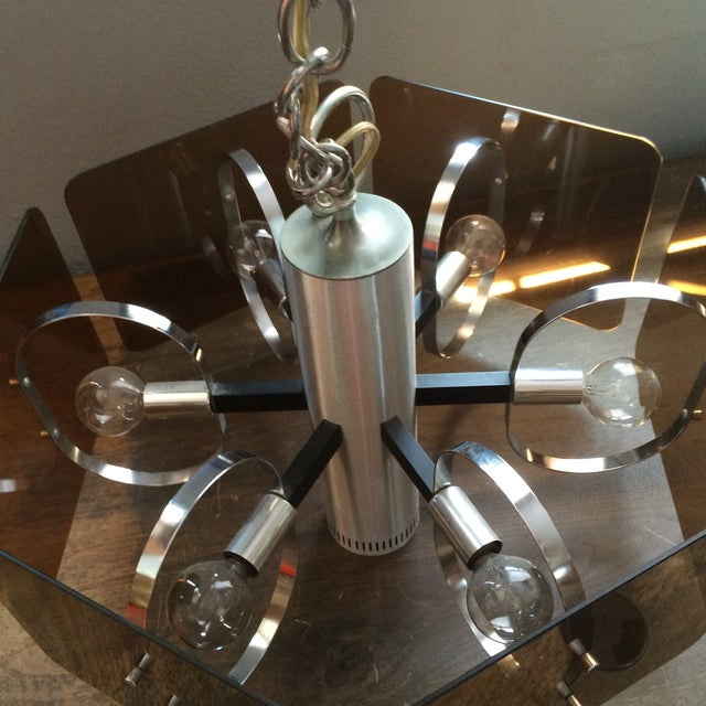 1970's Chrome and Smoked Lucite Pendant Lamp - Image 4 of 7