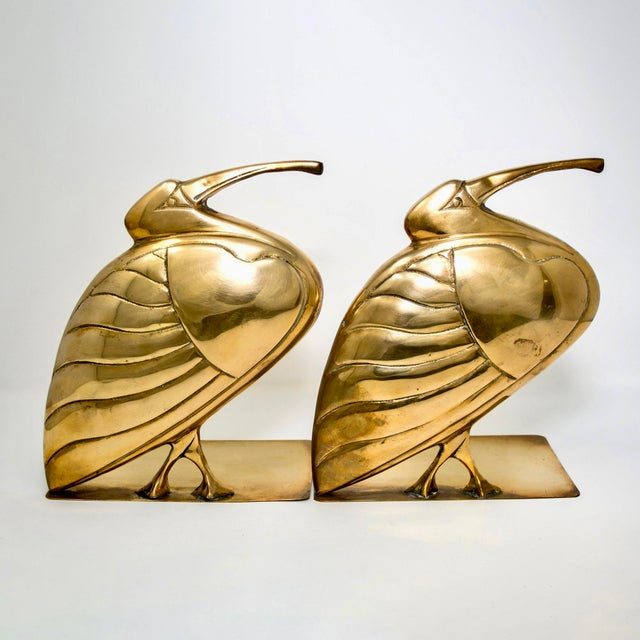 Mid-Century Modern Mid Century Pair Brass Heron or Egret Bookends For Sale - Image 3 of 11