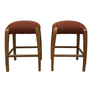 Pair of Burnt Orange Corduroy Counter Stools