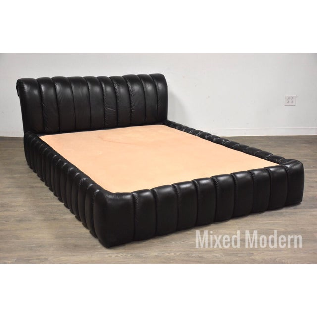 Jay Spectre Black Leather Queen Bed For Sale - Image 11 of 11