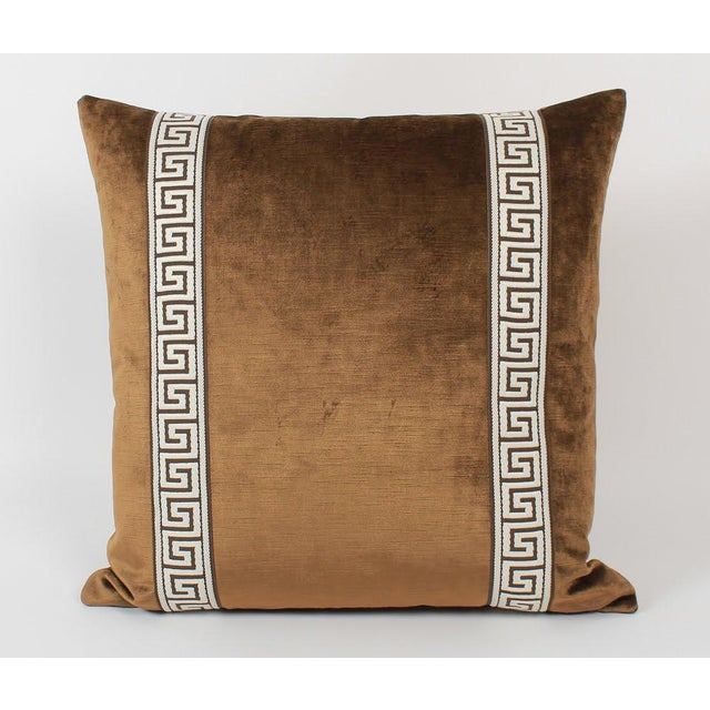 Traditional Espresso Velvet Greek Key Pillows, Pair For Sale - Image 3 of 7